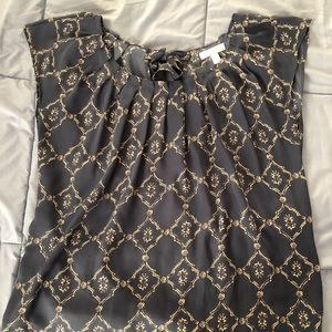 LC Lauren Conrad pleated blouse blue/grey and gold